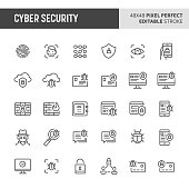 30 thin line icons associated with cyber security with fingerprint recognition, face ID, mobile, cloud & computer security are included in this set. 48x48 pixel perfect vector icon with editable vecto