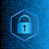 Cyber security background with abstract binary code, hexagons and a padlock lock symbol. Vector eps 10 illustration in glowing blue colors.