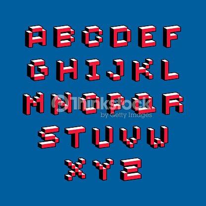 Cybernetic 3d alphabet letters, pixel art vector digital typescript