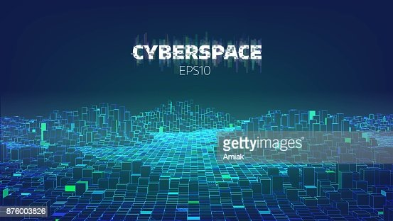 Cyberspace game city. Internet of Things. Futuristic technology background : Vector Art