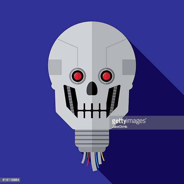 Cyborg Head Icon Flat