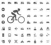 Cycle icon. Transport and Logistics set icons. Transportation set icons.
