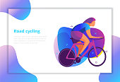 Vector image with cyclists. Modern flat graphics in interesting colors.