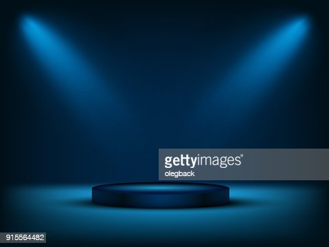 Cylinder podium under blue light. Vector illustration. : stock vector