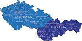Detailed map of Czech and Slovak