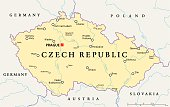 Czech Republic Political Map with capital Prague, national borders, important cities, rivers and lakes. English labeling and scaling. Illustration.