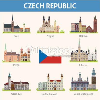 Czech Republic Symbols Of Cities Vector Art Thinkstock