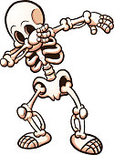 Dabbing cartoon skeleton . Vector clip art illustration with simple gradients. All in a single layer.