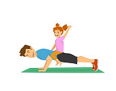 daddy and child haveing fun training together, happy cheerful father doing push ups sport workout exercise with daughter sitting on his back humor vector illustration