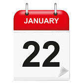 Daily single-leaf calendar, red spine, 3d, month of January,twenty-second,22, 22nd.Vector,illustration