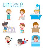 daily routine, daily routine of happy kids, Health and hygiene, daily routines for kids, daily routine of child, Little child daily activities, Daily Routine Vector set with cute kids Vector Illustrat