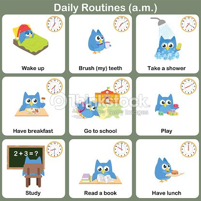 Daily routines at am sheet worksheet for education vector for Chambre de punition