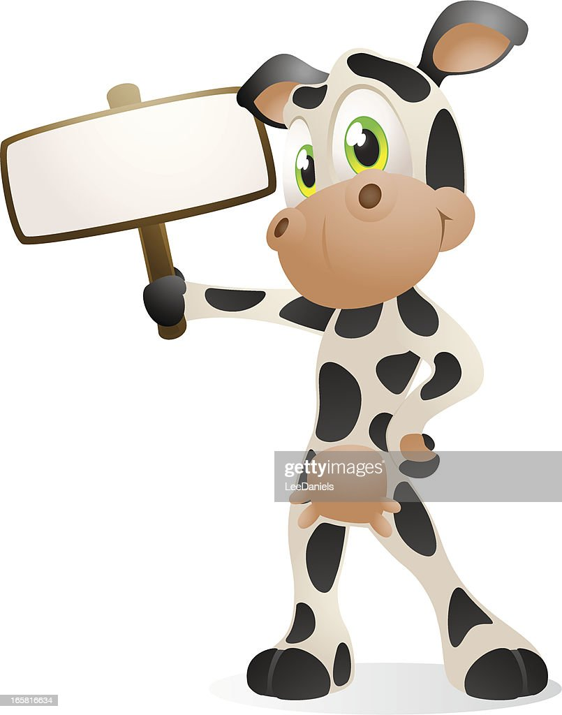 Dairy Cow with a Blank Sign : Vector Art