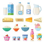 Vector collection of dairy products in flat style including milk, butter, cheese, yogurt, cottage cheese, sour cream, ice cream, cream, isolated on white.