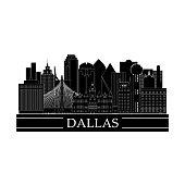 Dallas cityscape line art design. Black and white city landmarks. Vector illustration.