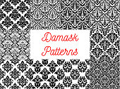 Damask seamless decor patterns. Baroque style stylized floral ornament decoration backgrounds. Elegant and luxurious floral decor design elements
