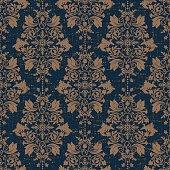 Damask seamless pattern. Vintage texture wallpaper, background