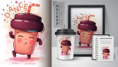 Dance coffee - mockup for your idea. Vector eps 10