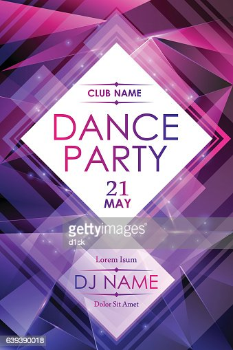 Dance night party poster template : stock vector