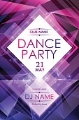 Dance night party poster template in vector