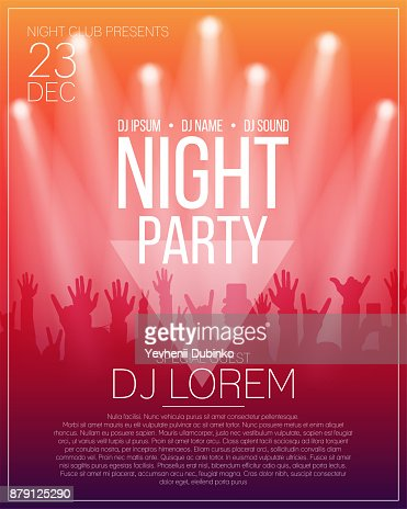Dance party flyer or poster design template. Night party, dj concert, disco party background with spotlights : stock vector