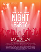 Dance party flyer or poster design template. Night party, dj concert, disco party background with spotlights and people crowd. Vector