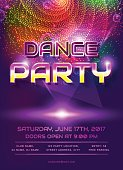 Colorful flyer for dance party invitation. Template with shiny background. Vector illustration.