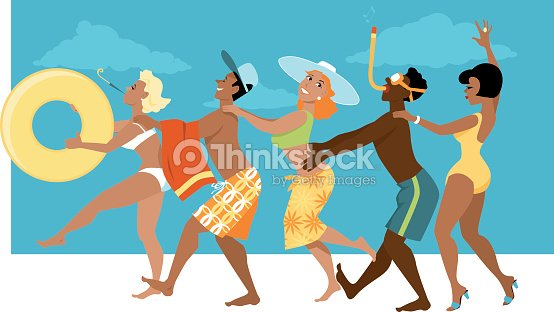 dancing at the beach vector art thinkstock