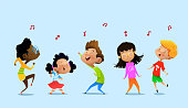 Dancing cartoon children. Vector illustrations Isolated on blue background