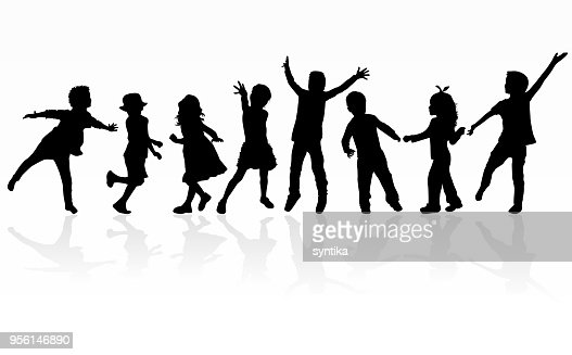 Dancing children silhouettes. : Vector Art