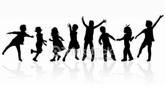 Dancing children silhouettes. : arte vetorial