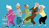 Diverse group of active senior people dancing a conga line, EPS 8 vector illustration, no transparencies