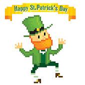 dancing leprechaun. St.Patrick 's Day greteeng card. Pixel art. Old school computer graphic style. Games elements.