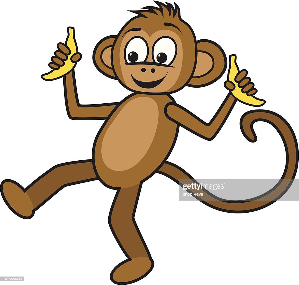 dancing monkey with bananas vector art getty images