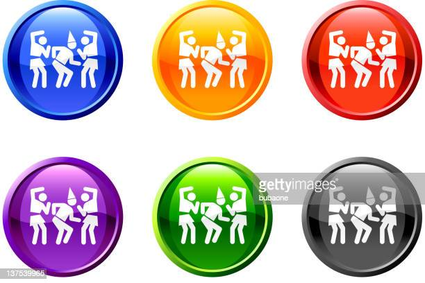 Baile fiesta botón de arte vectorial libre de derechos