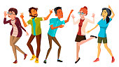 Dancing People Set Vector. Adult Persons In Action. Character Design. Isolated Flat Cartoon Illustration
