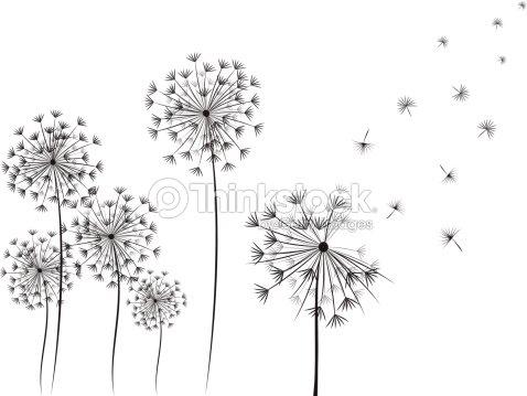 Pissenlit handdrawn illustration clipart vectoriel - Dessin fleur pissenlit ...
