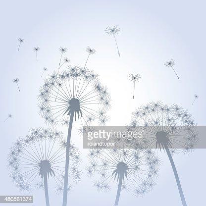 Dandelions and Wind. : Vector Art