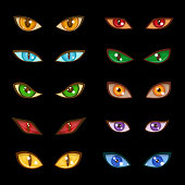 Danger animal monster evil glow eyes set for faces depicting range expressions on dark black background vector illustration. Bright dangerous design scary wild eyeball.