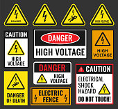 danger signs set, high voltage labels, vector illustration