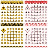 Triangular warning hazard symbols. Big set danger sign vector illustrator. Danger sign safety warning collection and risk caution stop danger sign. Security toxic yellow triangle sign.