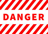 Danger sign, warning plate with red stripes isolated on white
