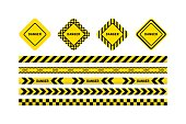 Yellow with black line and danger tapes, danger sign. Vector illustration isolated on white background.