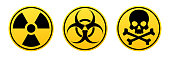 Danger yellow vector signs. Radiation sign, Biohazard sign, Toxic sign. Warning signs