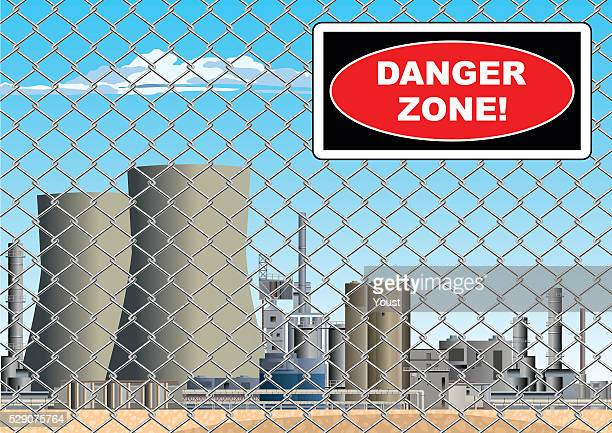 Danger Zone Sign on Nuclear Power Station Grid