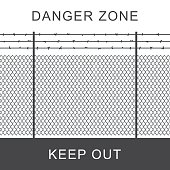 Danger zone with rabitz grid metal fence.