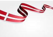 Danish flag wavy abstract background. Vector illustration.