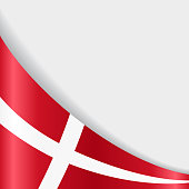 Danish flag wavy abstract background. Vector illustration.