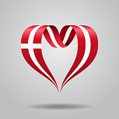 Danish flag heart-shaped wavy ribbon. Vector illustration.