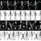 Dansing skeletons seamless borders set. Skeleton horizontal pattern vector illustration